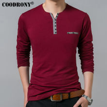 Long Sleeve T-Shirt  Henry Collar Fashion Casual For Men