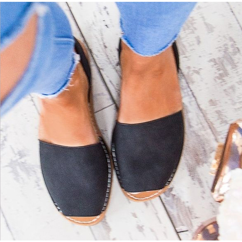 HTB1h67ktmBYBeNjy0Feq6znmFXaS MCCKLE Summer Sandals Women Plus Size Flats Female Casual Peep Toe Shoes Faux Suede Slip On Elastic Band Leisure Solid Footwear