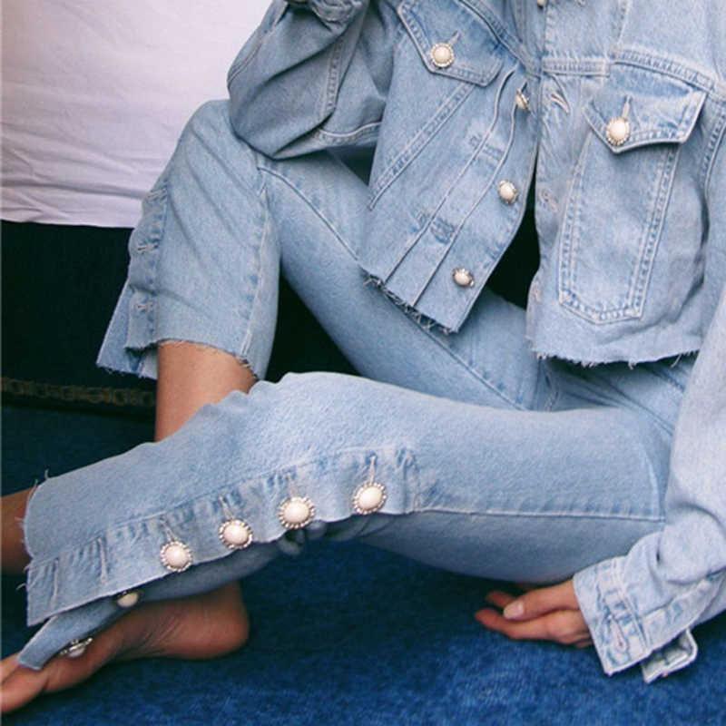 TWOTWINSTYLE женские костюмы комплект из двух предметов пуговица с жемчугом однобортная джинсовая куртка для женщин Высокая талия подол Сплит джинсы мода