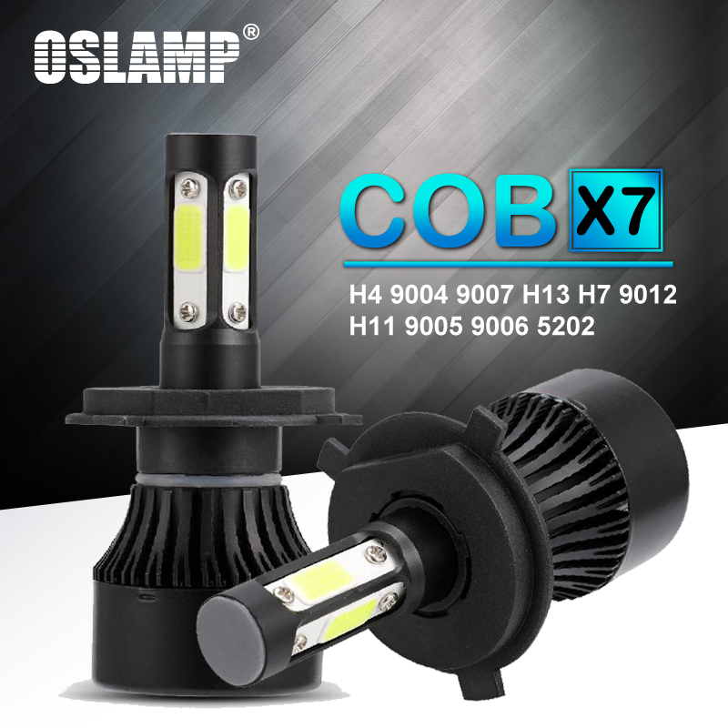Oslamp 2 piezas H4 Led H7 H11 9004 9007 H13 9005 9006 9012 5202 Auto X7 serie coche faro bombillas 100 W 10000lm Auto cabeza 6500 K