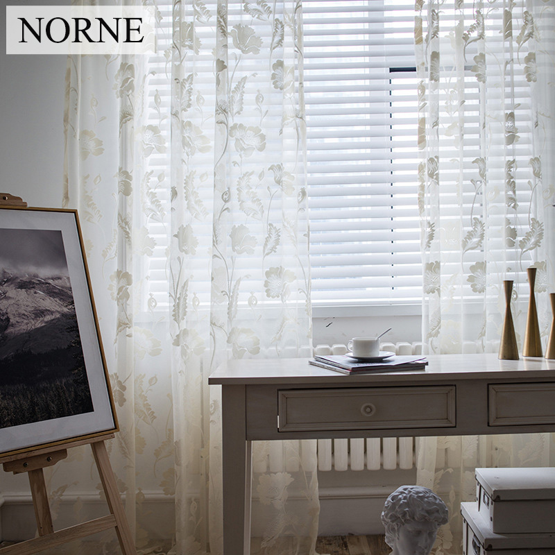 NORNE Semi Decorative Beige Light Weight Lace Tulle Sheer