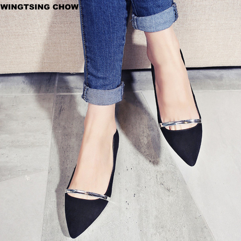 2017 New Brand Pointed Toe Women Flats Casual Leather Shoes Woman Fashion Business Shoes Women Plus Size 34-43 new 2017 spring summer women shoes pointed toe high quality brand fashion womens flats ladies plus size 41 sweet flock t179
