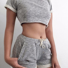 2 Pieces Set Fashion Women Sexy Tops Shorts Suit Breathable Expose Navel Drawstring Ladies Girl Casual