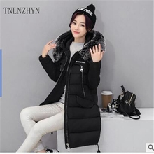 TNLNZHYN 2017 winter New Fashion Women Cotton Big yards Hooded fur collar Women Jacket Solid color Thickening Cotton Coat Wu26