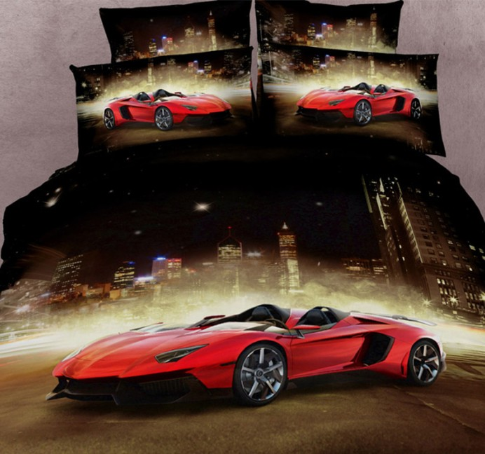 Queen Size Race Car Bed | 3D Race Car Bedding Sets Cars Duvet Cover Queen Size Super King Double Bedspread Bed In A Bag Fitted Sheets Quilt Cotton 4pcs