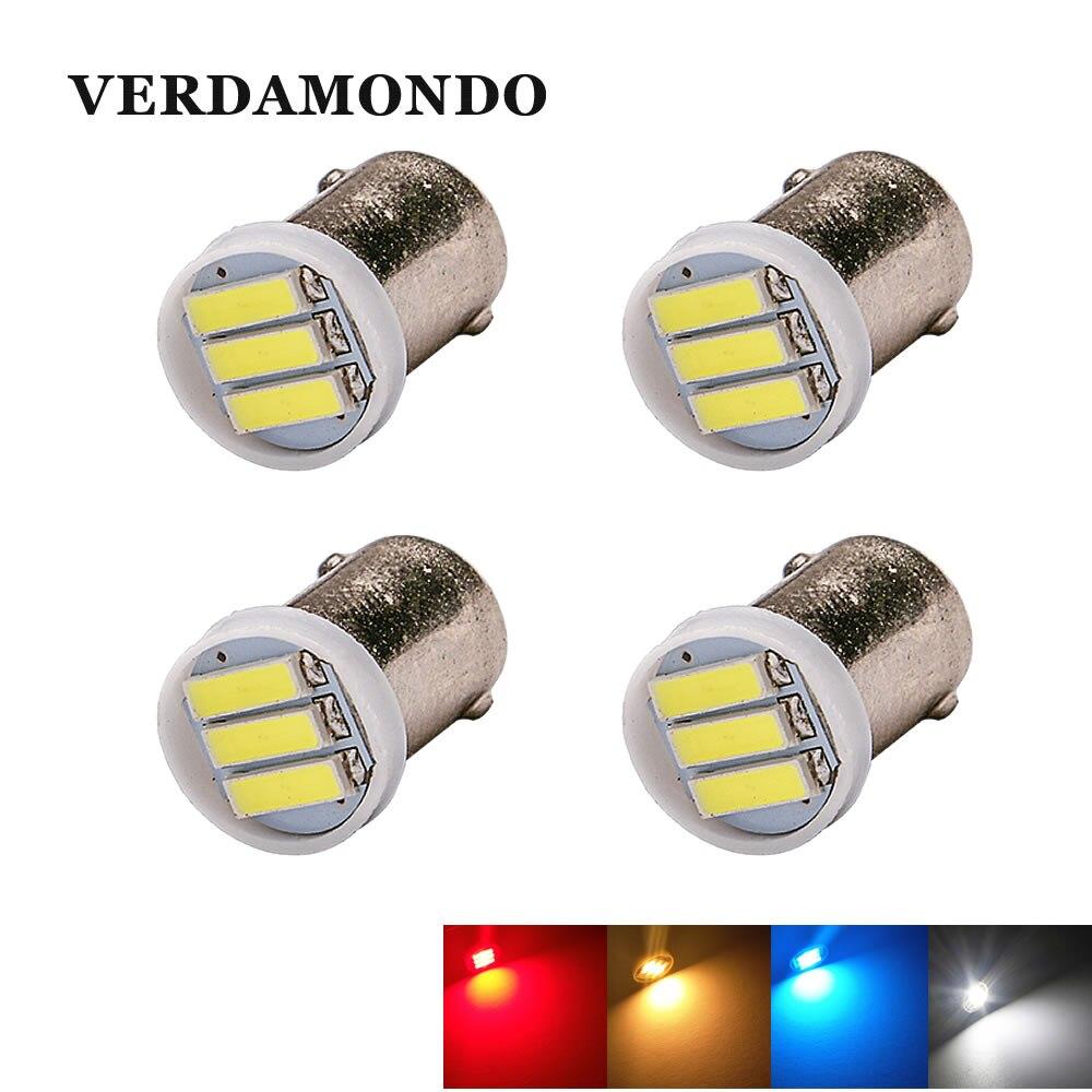 4 pièces BA9S T4W 3 LED 7020 SMD voiture intérieur lumières lecture dôme lampe carte éclairage Auto ampoules DC 12V froid blanc jaune rouge bleu