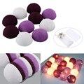 Bola de algodón color mezclado púrpura Decoraciones Del Partido led Cadena Luces de Hadas de La Batería Alimentado AC110v AC220v