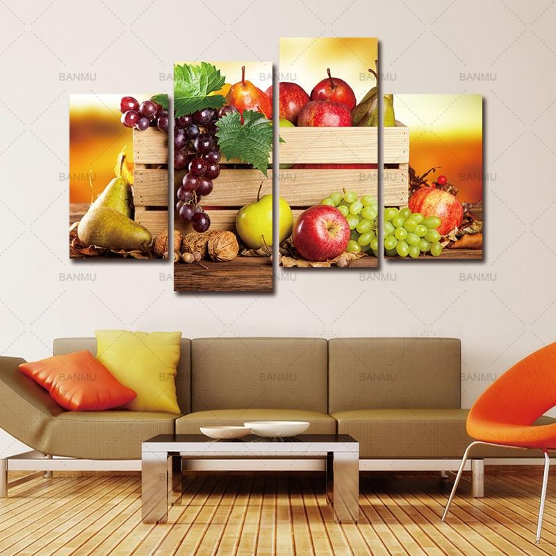 4 Platten leinwand gemälde wandbilder für wohnzimmer descorative bilder für  die küche obst wand-dekor moderne leinwand kunst