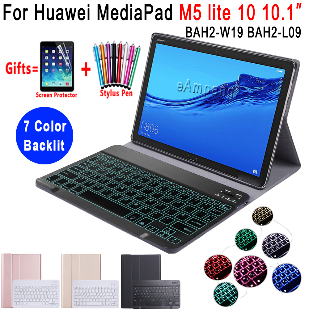 Backlit Keyboard Case For Huawei Mediapad M5 Lite 10 10.1 Case BAH2-W09 BAH2-L09 BAH2-W19 Bluetooth Keyboard Leather Cover Funda