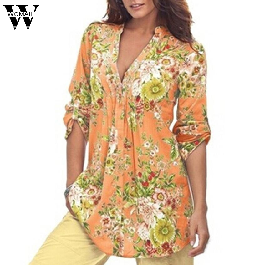 2017 Tops Shirt Women Vintage Floral Print V-neck Tunic Tops Women's Fashion Plus Size Tops Shirt Aug10