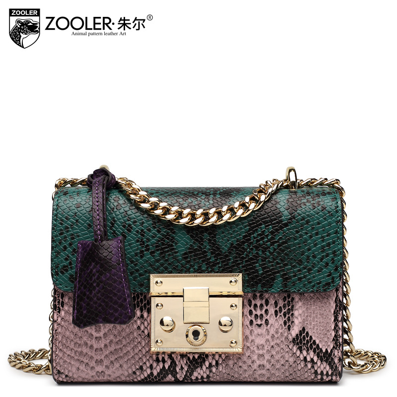 ZOOLER 2017 Winter New Genuine Leather Bag Ladies Snake Chain Small Bags for Women European and American Shoulder Bag Sac A Main zooler women genuine leather chain bag female 2017 new winter ruched shoulder messenger bags small sheepskin evening clutch bag