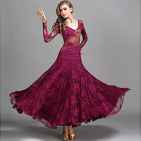 Ballroom Dress Women Lace Chiffon Stitching Dance Wear Waltz Standard Modern Dance Practice Outfit Red Carpet Dresses DC1180