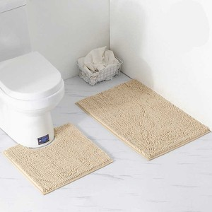Image 5 - 2 teile/satz Shaggy Anti slip Bad Wc Matten Set Chenille Saugfähigen Bad Teppich Sockel Bad Matte