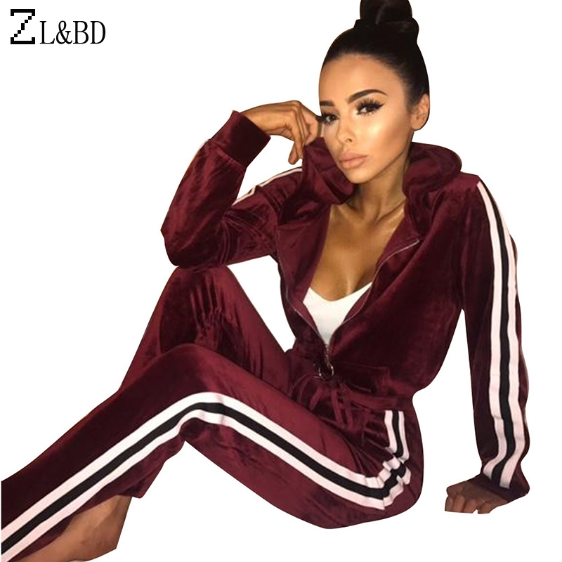 ZL&BD sudaderas mujer Womens Tracksuits 2 Pcs Set Vintage Velvet Striped Hooded Hoodies and Sweatshirt Sweat Femme ZA293
