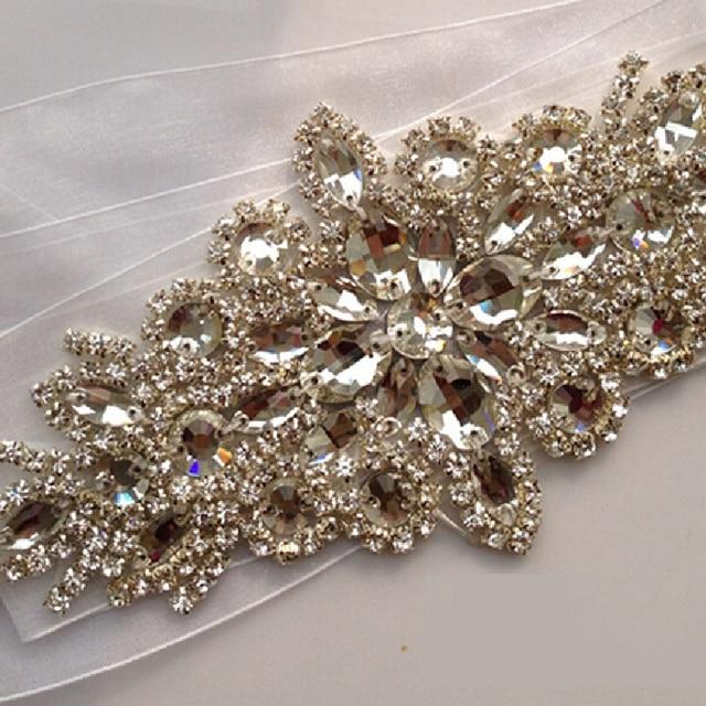 In Stock Bridal Belt 2016 Free Shipping Bridal Sash With Diamond Crystal Beads White Ivory Rhinestone Wedding Sashes
