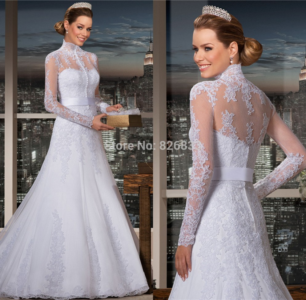 Plus Size Long Sleeve Wedding Gowns: 2015 High Neck Wedding Dresses Long Sleeves Lace Trumpet