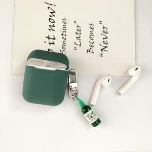 Image 5 - קוריאני חמוד באר עיצוב בקבוק סיליקון אוזניות מקרה עבור אפל Airpods אביזרי Bluetooth אוזניות מגן כיסוי מפתח טבעת