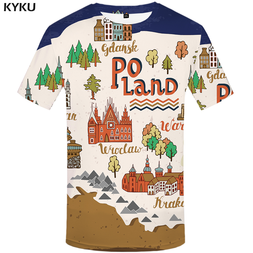 KYKU City T-shirt Men Cartoon T Shirt Hip Hop Tee Funny T Shirts Poland Tree 3d T-shirt Print Casual Mens Clothing Streetwear