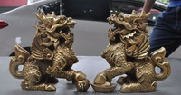 wedding decoration Chinese fengshui brass Fly Dragon Kylin Chi lin Unicorn Pi Xiu beast Statue Pair