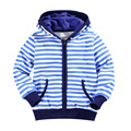 2016 autumn and winter children's clothing children long-sleeved blue striped sweater printing hooded zipper sweater boy sweater