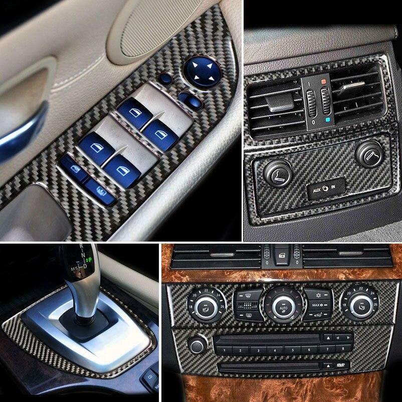 Carbon Fiber Console Gear Shift Panel Air Outlet Frame Door Armrest Decor Strips Cover Trim Sticker For BMW 5 Series E60 2005-10