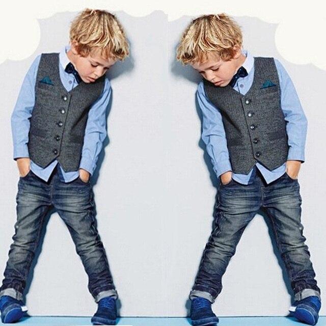 452a6fce475 Conjunto de ropa para niños pequeños chaleco para niños + blusa + Pantalones  vaqueros 3 piezas