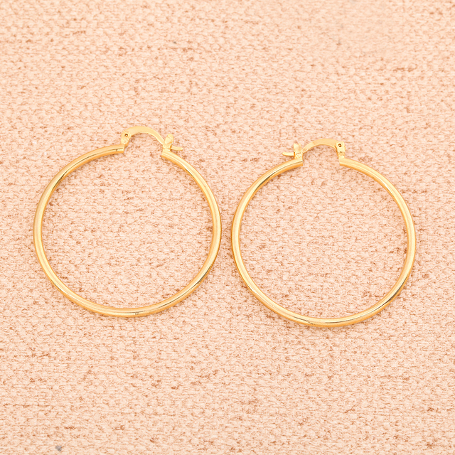 Gold Color Big Hoop Earrings Brass Jewelry Wholesale Trendy Pattern Circle Round Earrings For Women