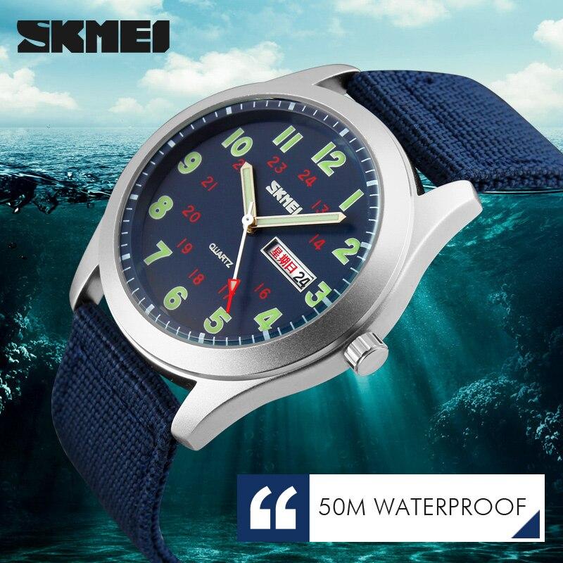 Image 5 - SKMEI Luxury Brand Military Watch Men Quartz Analog Clock Nylon Strap Clock Man Sports Watches Army Relogios Masculinoclock controlwatch cheapclock message -