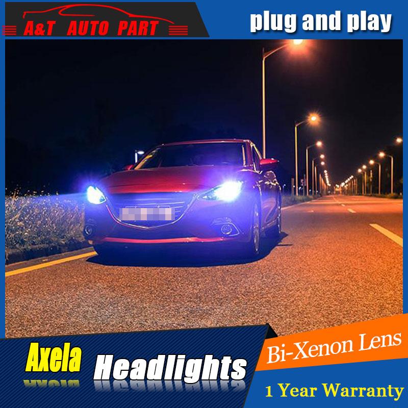 Auto Lighting Style LED Head Lamp for Mazda 3 Axe headlights for Axela LED angle eyes drl H7 hid Bi-Xenon Lens low beam auto lighting style led head lamp for toyota yaris l led headlights 2014 2016 double u led hid kit bi xenon lens low beam