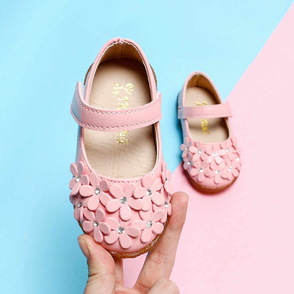 MUQGEW เด็กทารกเด็กวัยหัดเดินเด็กดอกไม้หนังรองเท้า Soft Sole รองเท้า # p35US
