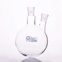 שני צווארון בקבוק אלכסוני צורה, עם שני צוואר סטנדרטי שחיקה פה, קיבולת 1000ml, אמצע משותף 24/29 ורוחב משותף 24/29