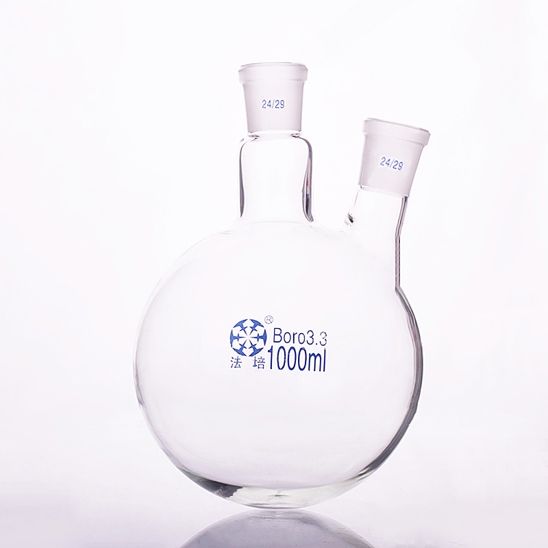 Two-necked flask oblique shape,with two necks standard grinding mouth,Capacity 1000ml,Middle joint 24/29 and lateral joint 24/29