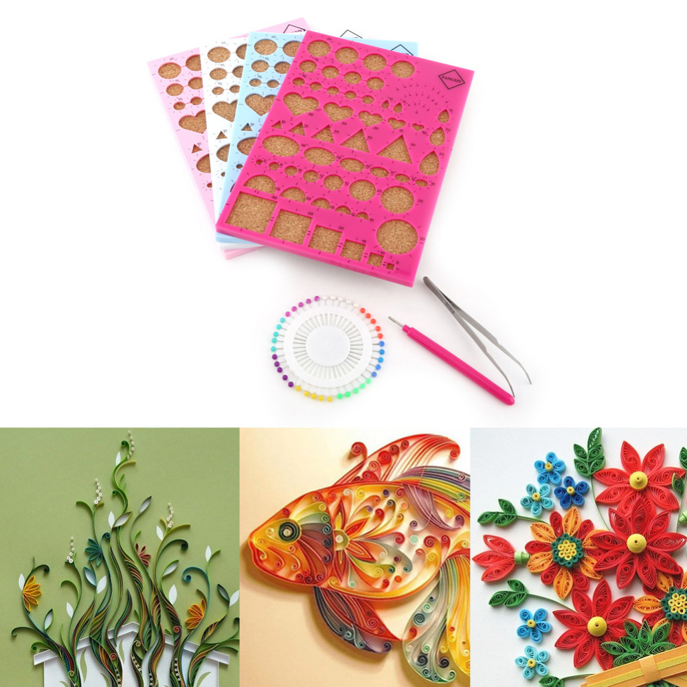 Hot Diy Paper Craft Template Boardtweezerpinsslotted Pen Quilling