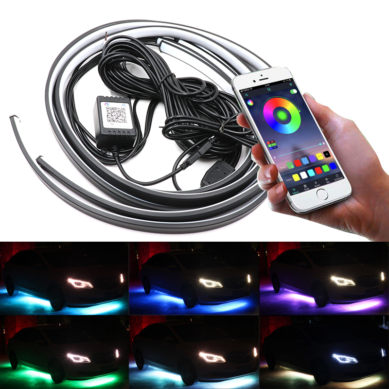 Niscarda 4PCS 12V IP65 Bluetooth App Control RGB LED Strip Under Car 60 90 120cm Tube Underglow Underbody System Neon LightDecorative Lamp   -