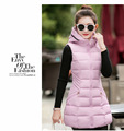 New Arrival Women Winter Vest Waistcoat 2017 Cotton Padded Hooded Thick Warm Sleeveless Jacket Vest Female Slim Long Vest