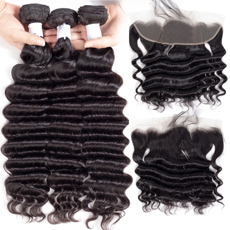 Loose Deep Wave Bundles Med Frontal Ably 100% Brazilian Remy Wet And - Mänskligt hår (svart) - Foto 3