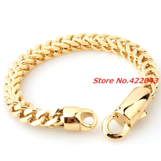 "8.85"" 316L Stainless steel bracelet for men unisex jewelry  gold plated pulseira masculina Figaro Chain ,High Quality Chain"