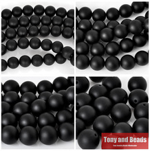 Free Shipping AAAA Quality Black Frost Onyx Agata Round Beads 15″ Strand 4 6 8 10 12 14 MM Pick Size For Jewelry Making No.OB06