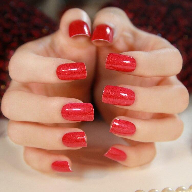 Online Shop Free shipping Medium-long square toe nail art patch ...