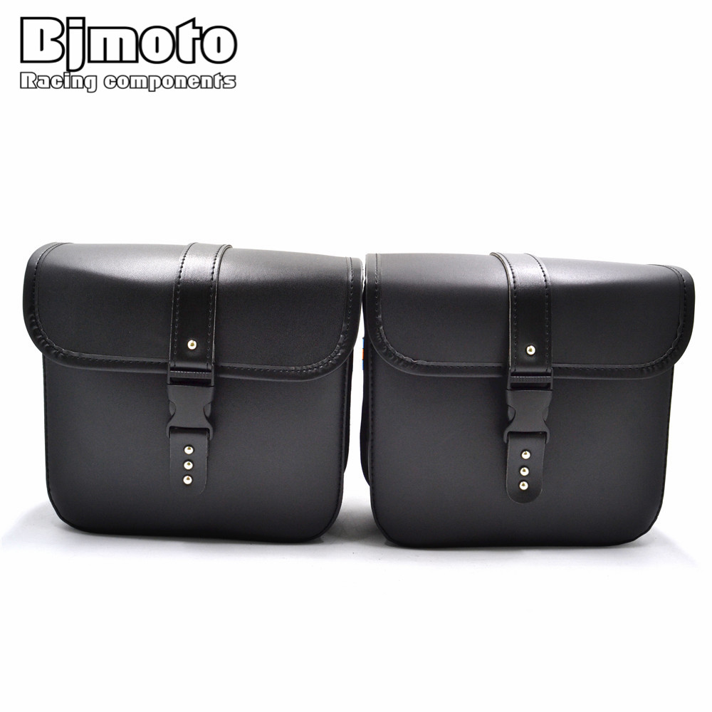 BJMOTO 2 x  Universal Motorcycle PU Leather Saddle bags Cruiser Side Storage Tool Pouches For Harley  Sportster XL883 XL1200