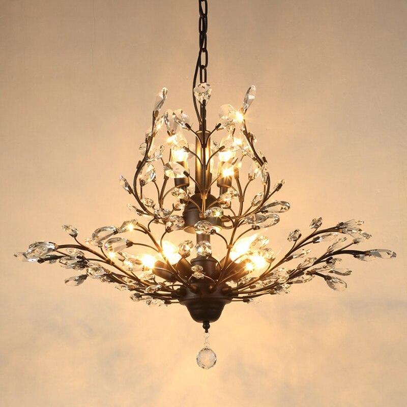 Style européen lustre en cristal éclairage restaurant chambre entrée conduit fer lampes escaliers vintage français lustre en cristal