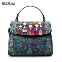 NADALIYA Clamshell Cartoon Square Printing Dark Green Forest Women Leather Messenger Shoulder Bag Retro Tote Bag