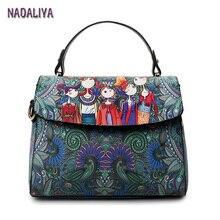 NADALIYA Clamshell Cartoon Square Printing Dark Green Forest Women Leather Messenger Shoulder Bag Retro Tote Bag Woman Handbags