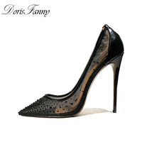 DorisFanny Black High Heels Wedding shoes womens pumps size 13 12 see through pointed toe ladies shoes