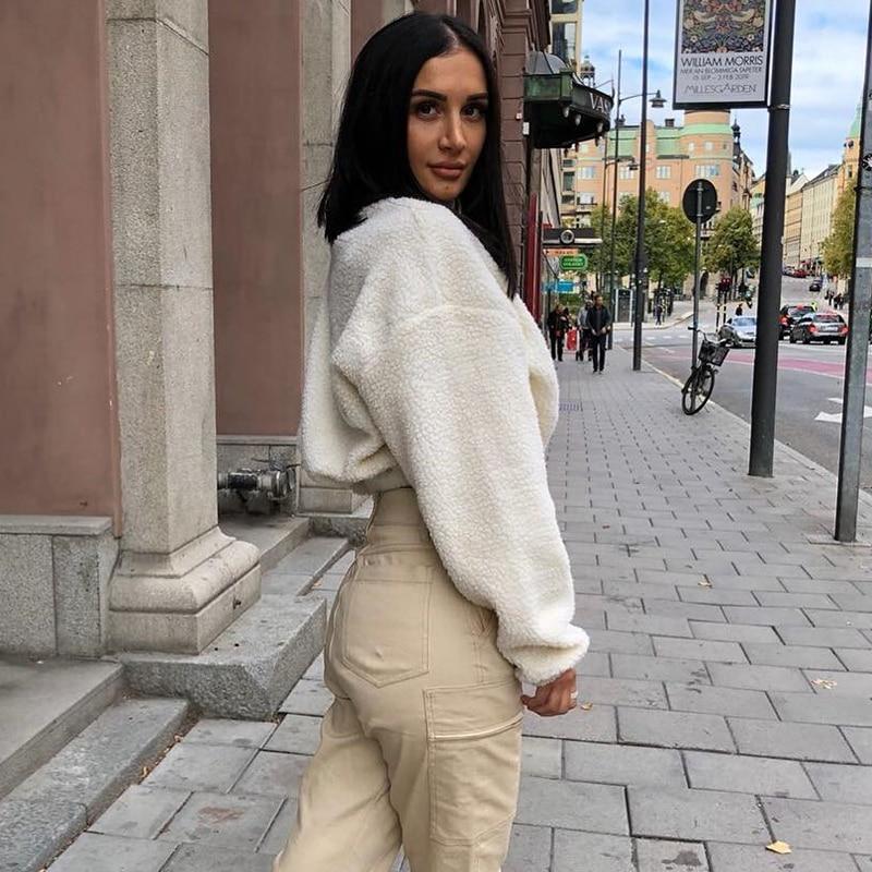 HTB1h6BBhSzqK1RjSZFjq6zlCFXaS Hugcitar long sleeve zipper high neck Faux lambswool crop tops 2018 autumn winter women fashion solid coat jacket