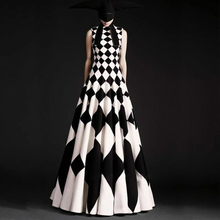 S-4XL באיכות גבוהה 2020 אביב קיץ אירופאי ואמריקאי אופנה פשוט שחור ולבן משובץ סופר Hem שרוולים מקסי שמלה