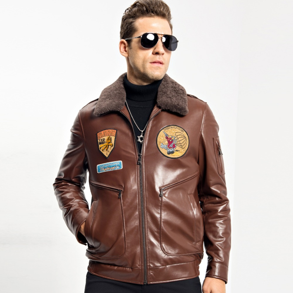 Для Мужчин's Дубленки Мех животных пальто Короткие натуральная полета кожаная куртка мотоцикла Верхняя одежда съемный воротник шерсти курт