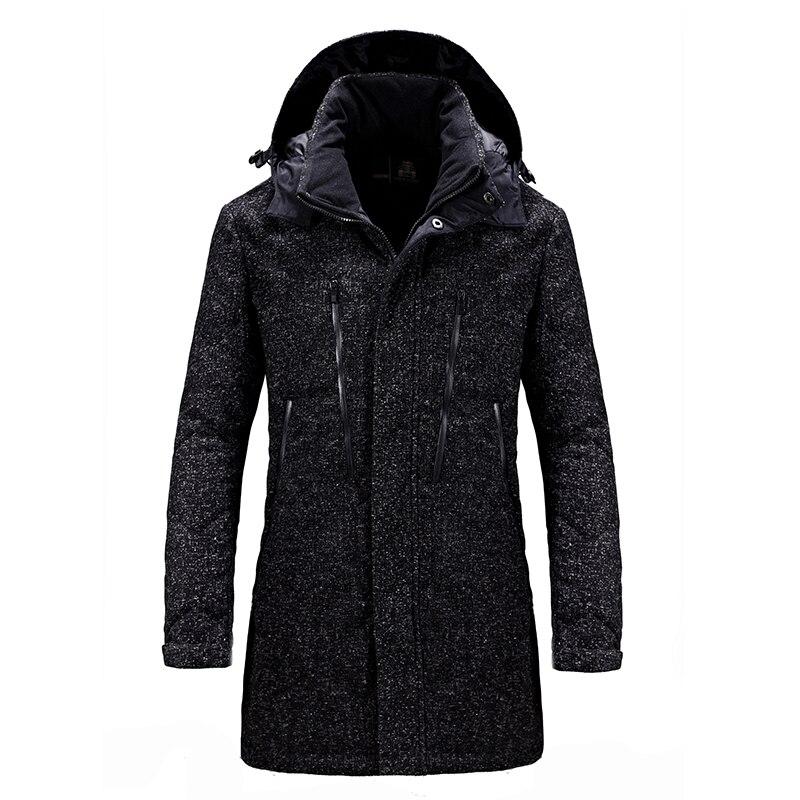 Nouvelle marque de vêtements d'hiver hommes kaki noir veste mode hommes hiver Parka avec capuche décontracté chaud hommes manteaux épais Long Parkas