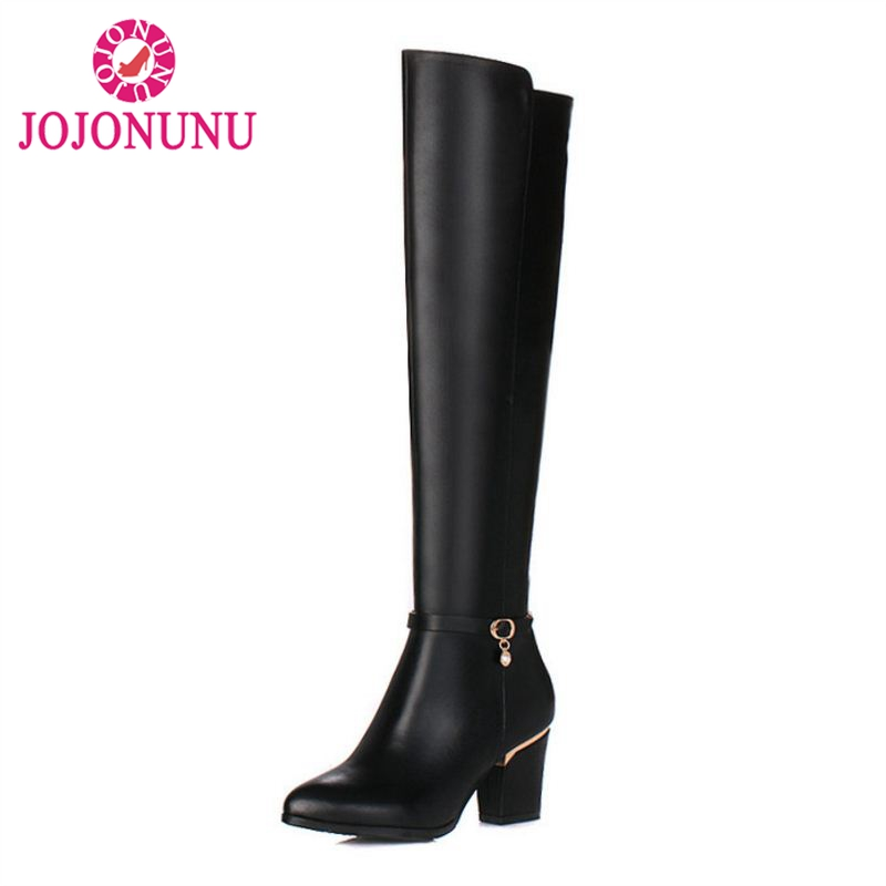JOJONUN Women Natural Real Leather Knee Boots Winter Snow Boots Sexy Square Heel Zipper Women Riding Boots Shoes Plus Size 31-45JOJONUN Women Natural Real Leather Knee Boots Winter Snow Boots Sexy Square Heel Zipper Women Riding Boots Shoes Plus Size 31-45