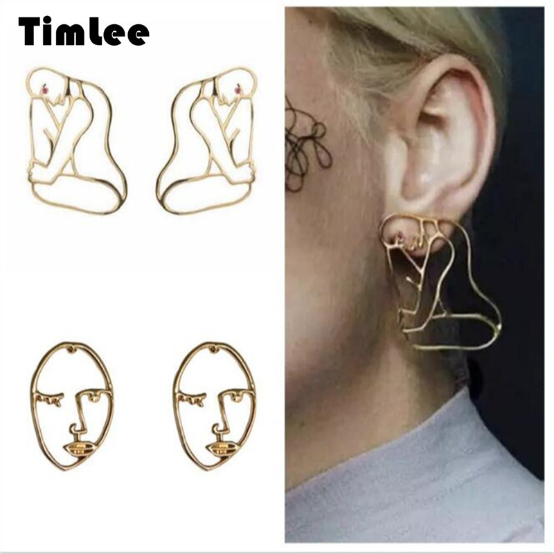 Timlee E095 Persoonlijkheid Overdrijving Metal Hollow Face Stereo Silhouette Human Body Studs Oorbellen Fashion groothandel